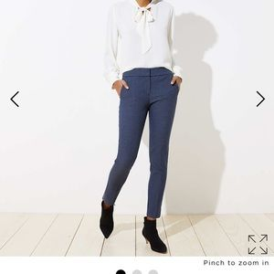 Loft navy blue and black gingham ankle trousers